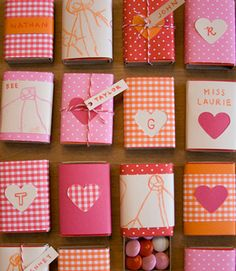Wedding guest gift ideas, create your own personal designs using match boxes and fill them with sweets