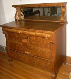 Antique Tiger Oak Sideboard Buffet Mirror Shelf By