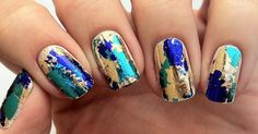 Blue, Green and Gold manicure Manicure Y Pedicure, Gel Nails, Acrylic Nails, Gold Manicure, Marble Nail Designs, Diy Nail Designs, Nail Polish Trends, Nail Trends, Bailarina Nails