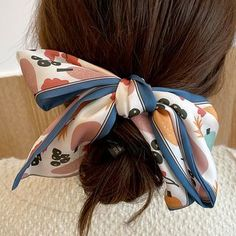 Scarf Hairstyles, Hair Ties, Pink White, Color Blue, Floral Prints, Satin, China, Amp, Beauty