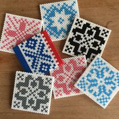 Tiles (knitting designs) hama perler beads by garnkjerring- I wonder what I could do with perler bead tiles Perler Beads, Hama Beads Coasters, Perler Bead Art, Fuse Beads, Perler Bead Designs, Hama Beads Patterns, Beading Patterns, Iron Beads, Melting Beads
