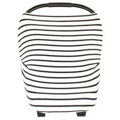 Multi-use 3-in-1 Design Stretchy fabric fits most all car seats, shopping carts, and nursing mothers. The thin black and white striped fabric is gender neutral