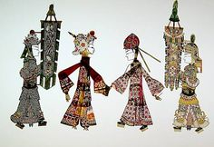 Chinese shadow puppetry is a form of theatre acted by colourful silhouette figures made from leather or paper, accompanied by music and singing. Manipulated by puppeteers using rods, the figures create the illusion of moving images on a translucent cloth screen illuminated from behind.