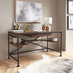 Metal frame and wood top writing desk #industrial #homeoffice #Affiliate