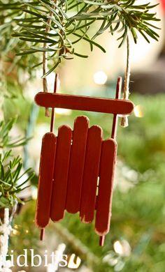 Popsicle stick sled ornament.