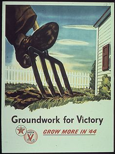 """Vintage Victory Garden Poster: """"Grow more in"""