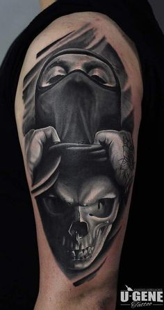 Black and gray surreal skull tattoo by @evgeniy_goryachiy at @redberrytattoostudio