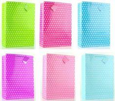 12-Pack Assorted Polka Dots Gift Bag