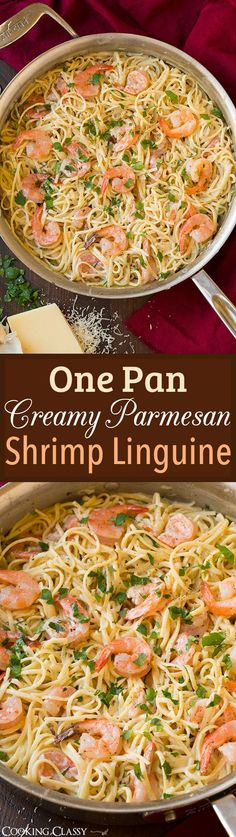 One Pan Creamy Parmesan Linguine with Shrimp - a 20 minute meal that is unbelievably delicious!! Tastes like an Alfredo just not as heavy! (20 Delicious Italian Recipes)