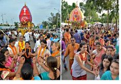 Car festival gets off to a colourful start – Rath Yatra organised by ISKCON in Visakhapatnam, India. Sumit Bhattacharjee: Men, women join in traditional attire to pull ropes of the chariot Th…
