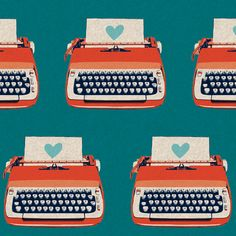 Typewriters blue, of Ruby Star Shining by Melody Miller for Kokka