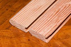 Cedar strips milled with a bead and cove joint for a perfect fit