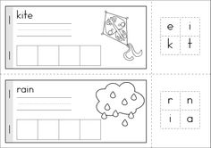 Kindergarten SPRING Math & Literacy unit. 94 pages in total. A page from the unit: build-a-word Spring booklet