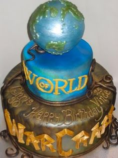 World of Warcraft globe cake.  I have a few dweebs in my life that would adore having this cake for their b-day