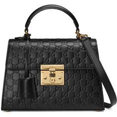 Gucci Padlock Gucci Signature Top Handle Bag (138.705 RUB) ❤ liked on Polyvore featuring bags, handbags, purses, black, top handles & boston bags, women, boston bag, hand bags, pocket purse and man bag