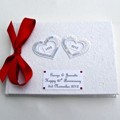 Personalised Ruby Wedding Anniversary Hearts Guest Book