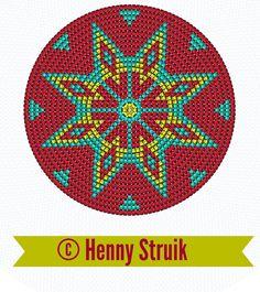 Pattern bottom Mochilla look-a-like bag red yellow aqua variation 3 , 160 steken Crochet Chart, Bead Crochet, Crochet Motif, Beaded Embroidery, Cross Stitch Embroidery, Cross Stitch Patterns, Loom Beading, Beading Patterns, Couture Cuir