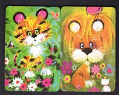 Vintage Swap Cards - Cute Tiger & Lion Pair