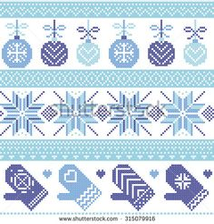 Scandinavian Nordic seamless Christmas pattern with Xmas baubles, gloves, stars, snowflakes, Xmas ornaments, snow element, hearts in three shades of blue cross stitch knitting   - stock vector