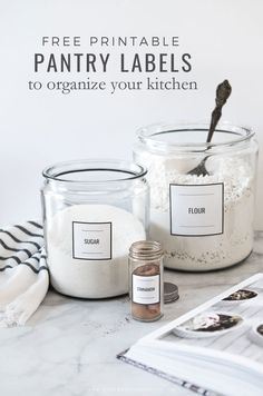 Organize your kitchen with these free simple and modern printable labels for your pantry and spices. Organize your kitchen with these free simple and modern printable labels for your pantry and spices. Kitchen Labels, Pantry Labels, Kitchen Pantry, Kitchen Decor, Organized Kitchen, Spice Labels, Kitchen Modern, Deep Cleaning Tips, Cleaning Hacks