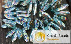 Czech Glass Beads – Opaque Shiny Peacock Turquoise Dagger Beads Czech – a unique product by CzechBeadsExclusive on DaWanda Bleu Turquoise, Turquoise Glass, Diy Jewelry Parts, Amazon Art, Czech Glass Beads, Peacock, Beaded Jewelry, Hair Accessories, Fashion Accessories