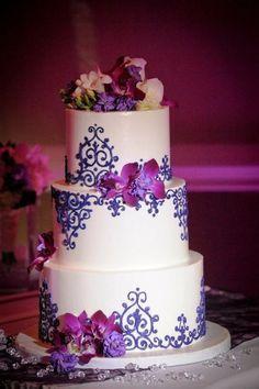 purple wedding cake