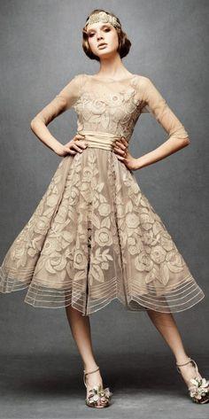 Vintage 1950 short wedding dress from: jazzfever