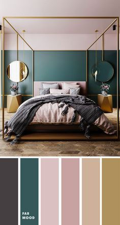 Teal home accents home accents homeaccents hint of grey teal and mauve with grey accents color palette for bedroom color colorinspiration bedroom teal wedding color trends 30 sunset dusty orange wedding color ideas Bedroom Green, Room Ideas Bedroom, Home Decor Bedroom, Modern Bedroom, Teal Master Bedroom, Mauve Bedroom, Teal Bedroom Accents, Wall Colors For Bedroom, Calm Bedroom