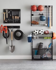 """The Container Store on Instagram: """"Get your garage summer-ready. #TheContainerStore"""" Storage Rack, Storage Shelves, Shelving, Locker Storage, Sports Storage, Garage Organization, Organization Ideas, Garage House, Container Store"""