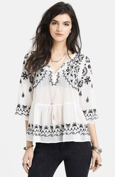 Free People 'Pennies Sequal' Embroidered Top available at #Nordstrom
