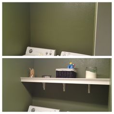 DIY laundry shelf... Crown molding, 3 brackets and one solid piece of wood. $30
