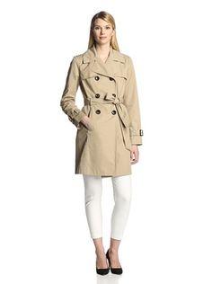 74% OFF Ellen Tracy Women's Belted Peplum Trench Coat (Khaki)