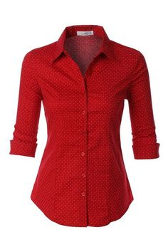 Red Polka Dot Button Down Shirt