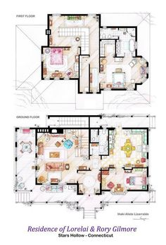 The upstairs and downstairs layout of Lorelai and Rory Gilmore's house.