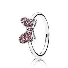 Disney Minnie bow silver ring with red and clear cubic zirconia. #PANDORAlovesDisney