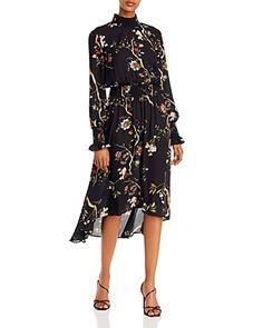 nanette Nanette Lepore Floral Smocked High/Low Dress - Very Black Multi Nanette Lepore, Black Midi Dress, World Of Fashion, Dress Collection, Dresses Online, Dress Outfits, High Low, Floral Prints, Clothes For Women