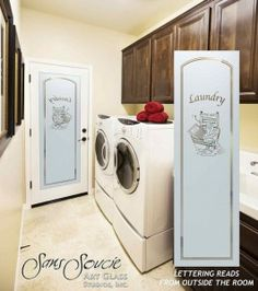 Laundry Room Door - Thru the Wringer by Sans Soucie - Custom frosted glass door features old fashioned wringer to adorn your laundry room! Glass Door, Laundry Doors, Room Doors, Etched Glass Door, Laundry Room Inspiration, Laundry, Glass Design, Glass Doors Interior, Laundry Room Doors