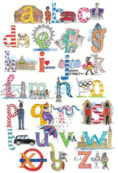 London alphabet print- a class might make one for your city or state. Children's Print: London A to Z by Kate Anniss Typography Letters, Hand Lettering, Creative Typography, Alphabet Print, Alphabet Charts, Alphabet Soup, Alphabet Design, Alphabet Letters, Alphabet And Numbers
