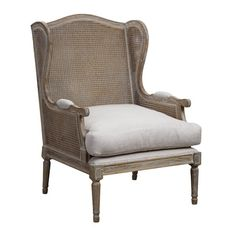 Bring a touch of elegance to your living room or master suite with this charming arm chair, featuring an upcycled oak wood frame and white upholstered seat.