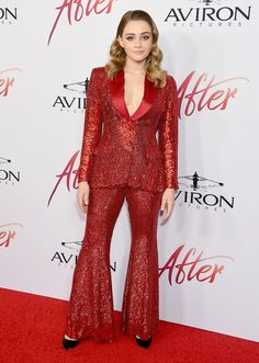 Josephine Langford In Alberta Ferretti – 'After' LA Premiere Checked Suit, Red Suit, Red Blazer, Alberta Ferretti, Celebs, Celebrities, Red Carpet Looks, Red Carpet Fashion, Suits For Women
