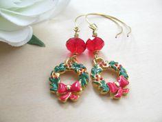 Holiday Jewelry - Christmas Earrings - Christmas Jewelry - Christmas Wreath - Red Crystal Beads - Handmade Earwires