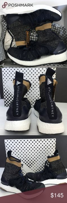 NWB ADIDAS x Stella McCartney Ultraboost X Mid 8 Rare Sold out Adidas Ultraboost by Stella McCartney X MId shoes. Navy legend blue with gold metallic white sparkling colored. Cloud white sole. Higher cut top socks. Women's specific heel counter and a free floating arch for flexible comfort.  Boost tm cushioning. Product code: BY1834 new with box! adidas Shoes Sneakers