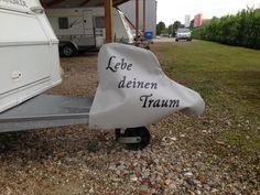 Wohnwagen Deichselhaube(Lebe deinen Traum) von Haubentraum auf DaWanda.com