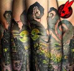 Graveyard Crow Evil Sleeve Tattoo by Jackie Rabbit by halloween tattoo Spooky Tattoos, 3d Tattoos, Body Art Tattoos, Tattoo Drawings, Horror Tattoos, Geisha Tattoos, Irezumi Tattoos, Dragon Tattoos, Badass Tattoos
