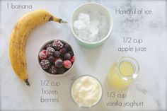 The easiest 5 ingredient Healthy Banana Berry Smoothie! We LOVE this!!! It's the best breakfast on the go!