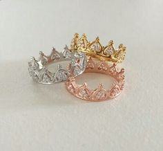 Prinzessin Krone Ring - Tiara Ring - stapelbare Ring - Knöchel Stapel schlank - Rose Gold Ring - Sterling Silber Ring - Valentinstag - 2020 Fashions Woman's and Man's Trends 2020 Jewelry trends Crown Promise Ring, Princess Promise Rings, Rose Gold Crown Ring, Cute Jewelry, Jewelry Accessories, Silver Jewelry, Silver Earrings, Cheap Jewelry, Pandora Jewelry