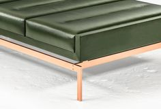 Olivera Chaise Longue or Daybed or Bench with Green Leather and Copper Base image 4