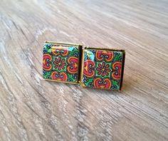 Tile stud earrings stud earrings Mexican tiles Mexican by XTory