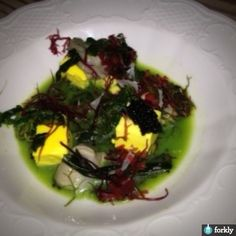 Bowfin Caviar with Miso Flan, Oyster Broth, Avocado, & Wild Greens from Lenoir Austin