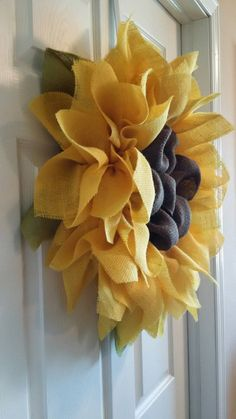 Sunflower Burlap Wreath Front Door Wreaths by DelightfullyQuaint